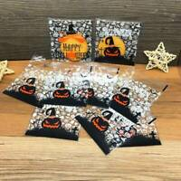 100X Halloween Self Adhesive Treat Candy Cookies Bags Favor Cello Cellophane UK