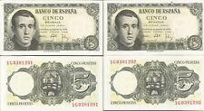 ESPAÑA 5 PESETAS 1951 Jaime Balmes Pareja correlativa Sin Circular