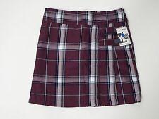 Girl Uniform Skirt Shorts Skort Burgundy Plaid Size 7 Cherokee Pleated Front