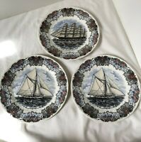 Set of 3 CHURCHILL Currier & Ives TALL SHIPS Dinner or Collector Plates NEW