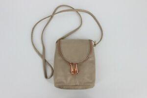 Hobo Fern Zipper Flap Mini Top Grain Leather Crossbody Bag Rose Dust Gray Gold