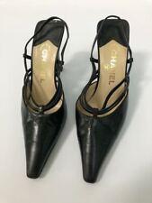 vintage 90s Black Leather Chanel slingback heels pumps 36.5 / 6