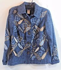 COLDWATER CREEK XS Cotton Embroidered JACKET BLUE Denim TAN Lined Free Ship