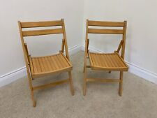 PAIR WOODEN FOLDING GARDEN CHAIRS VERY GOOD CONDITION