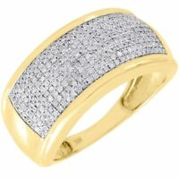 Diamond Wedding Band Men's 10K Yellow Gold Round Cut Pave Engagement Ring .60 Ct