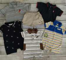 LOT of 6 Baby Boy One Piece Spring Summer Rompers Shirts Shorts 0-3m / 6-9m