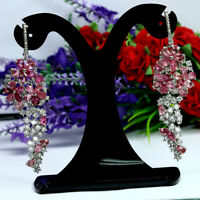NATURAL PINK TOURMALINE & WHITE CZ EARRINGS 925 STERLING SILVER WHITE GOLD PLATE