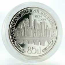 5 MANAT AZERBAIJAN 2009 SILVER COIN PROOF Nakhchivan City Bridges Buildings Maps