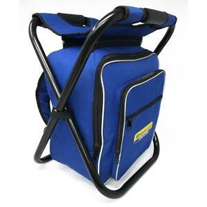 Folding Stool Insulated Cooler Bag Backpack Chair Picnic Fishing Camping Hiking