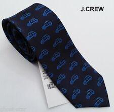 """New J.CREW silk neck tie navy blue classic car novelty narrow skinny slim 2.5"""""""