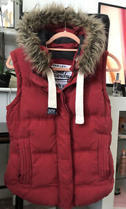 SUPERDRY UNIVERSITY Removable Hoodie Gilet Vest Waistcoat Size M Feather & Down