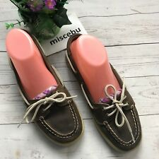 Sperry Top-Sider Women 8.5 Leather Comfort Shoes Brown Polka Purple Slip Spell