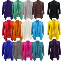 New Women Plus Size Full Sleeve Waterfall Front Jersey Cardigans 16-26
