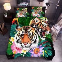 Tiger Floral Leaf Quilt Doona Duvet Cover Set Single/Double/Queen/King Bed Linen