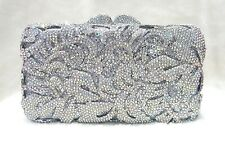 Silver Vintage Pattern Handmade Austrian Crystal Purse Cocktail Evening Bag
