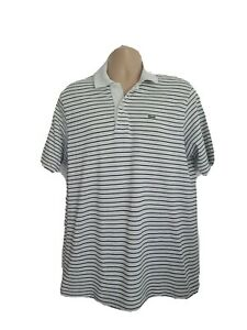 Lacoste Mens Large Vintage Black White Stripe Shortsleeve Polo