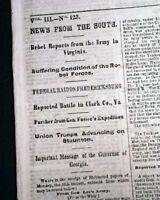 GEORGE B. McCLELLAN Farewell to His Army of the Potomac 1862 Civil War Newspaper