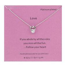 Equilibrium Love Heart Stone Set Platinum Plated Necklace