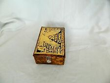 "Egyptian Camel Leather Jewelry Box Pharaoh Brown Winged Maat 5.5"" X 3.75"""