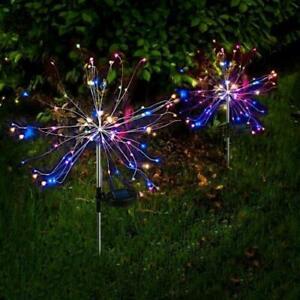 Solar Powered 90 LED Firework Lights Starburst Stake Lamp Outdoor Garden Party