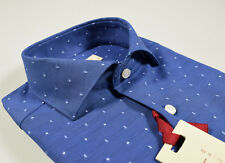 Camicia vestibilità Slim Fit Pancaldi collo Francese Azzurra con disegno piccolo