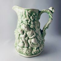 """Vintage Antique Green PITCHER Jug Babes in the Wood 6 7/8"""""""