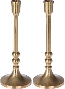23cm Tall Gold Candlesticks Candle Holder Elegant Design Set Of 2 Wide Base