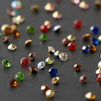 1440pcs Glass Pointed Back Rhinestone Cone Back Plated Mini Beads Mixed Color
