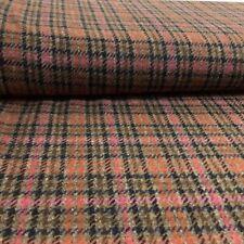 Yarn Dyed Cerise, Tan Dupplin Check Shetland Wool Tweed Dressmaking Fabric