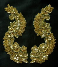 LR64 Sequined Beaded Applique Gold Mirror Pair L&R Floral Motif Sew On