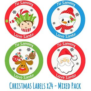 24 Personalised Christmas Stickers Gift Tag Labels Present Delivery From Santa