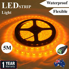 Yellow Waterproof Amber 12V 5M 5050 SMD 300 Led LED Strip Light Car Boat Caravan