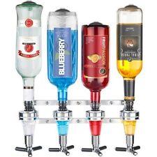 WALL MOUNTED OPTICS 4 Bottle Drinks Bar Cocktail Spirit Caddy Dispenser Set