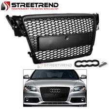 For 2009-2012 Audi A4 B8 Rs Honeycomb Mesh Front Hood Bumper Grille Matte Black (Fits: Audi)