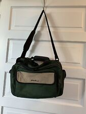 Eddie Bauer Computer Laptop Messenger Book Bag Luggage Green Canvas Adjustable