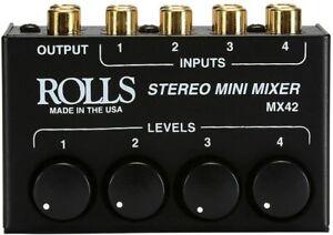Rolls MX42 4-Channel Passive Mini Stereo Mixer Open Box