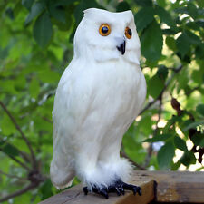 Realistic White Feather Owl Lifelike Bird Replica Furry Animal Garden Deterrent