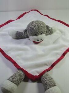 White/Red/Brown Sock Monkey Security Blanket Satin Trim Soft Lovey Lovie