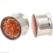 PAIR-Pink Opalescent Glitter Steel Double Flare Ear Plugs 10mm/00 Gauge Body Jew