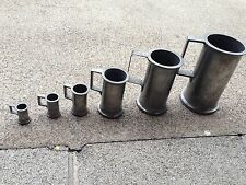 Antique 1800's French Pewter Measuring Cups/Tankards (set of 6)