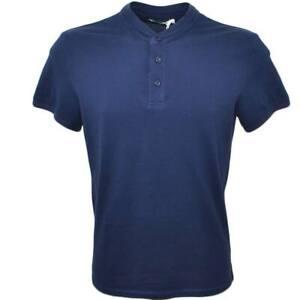 POLO basic uomo in cotone elastico blu notte slim fit girocollo con cucitura in
