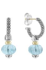 LAGOS Caviar Hoop Blue Topaz Forever Melon Sterling Silver Earrings