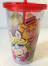 Disney Store Muppets Most Wanted 16 Ounce Tumbler Glass Cup With Straw NEW