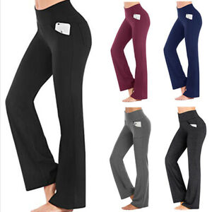 Ladies Flare Wide Leg High Waist Yoga Pants Fitness Bootcut Gym Sports Trousers