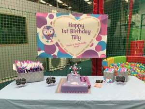 Personalised Vinyl Banner Giggle and Hoot / Hootabelle Birthday Backdrop Poster