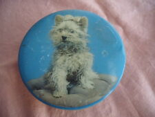 VINTAGE ROUND BLUE TIN WHITE TERRIER DOG CJ COLES & COY EMBASSY TOFFEES