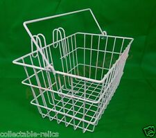 Wire Mesh Bicycle Basket Front Handlebar Mount White Handle Carrier Bike 1158