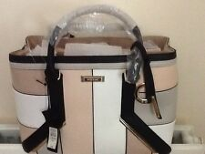 BNWT RIVER ISLAND Beige Pink White Grey Suede & Faux Leather Tote Bag Handbag