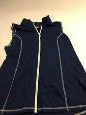 Quacker Factory Vest Sweatshirt Sz L Blue Embellished Zip Front Casual