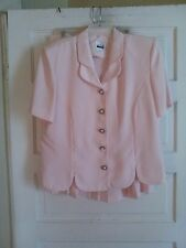 LESLIE FAY SZ 16 PINK PLEATED SHORT SLEEVE SKIRT SUIT